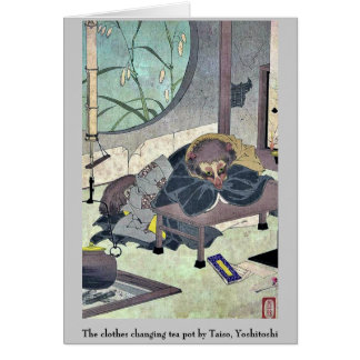 Die Kleidung, die Teetopf durch Taiso, Yoshitoshi Karte