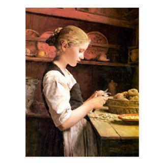 Die Kleine Kartoffelschälerin Postkarte