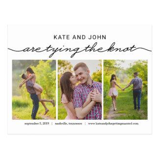 Die Knoten EDITABLE FARBEkarte Save the Date Postkarte