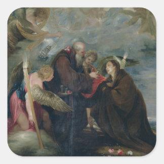 Die Kommunion von St -Rose von Viterbo die Jungfr Quadrataufkleber