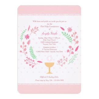 Die Kommunions-Einladung des Mädchens Karte