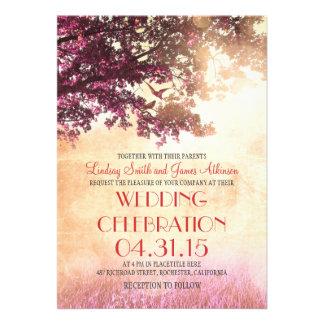 Die korallenroten rosa wedding Eichenbaum- u Personalisierte Einladungskarte