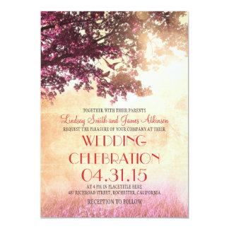 Die korallenroten rosa wedding Eichenbaum- u. Personalisierte Einladungskarte
