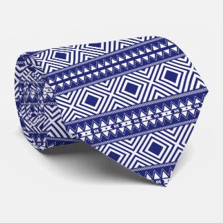Die Krawatte der blauen u. weißen geometrischen