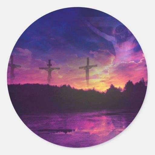 Die Kreuzigung des Jesus Christus Runde Aufkleber