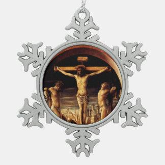 Die Kreuzigung von Jesus durch Vincenzo Foppa - Schneeflocken Zinn-Ornament