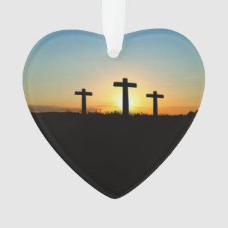 Die Kreuzigungs-Kreuze am Sonnenuntergang Ornament