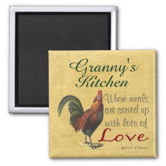 Die Küchen-Kühlschrank-Magnet der Hahn-Oma Quadratischer Magnet