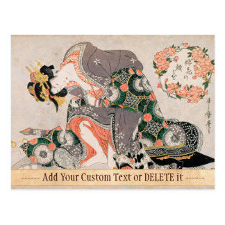 Die Kurtisane mit Geisha Katze Kitagawa Utamaro Postkarte