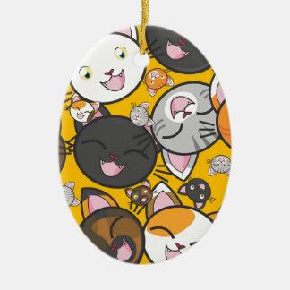 Die lachenden Katzen Keramik Ornament