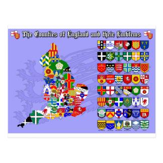 Die Landkreise von England, von ihren Flaggen u. Postkarte