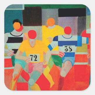 Die Läufer durch Robert Delaunay Quadratischer Aufkleber