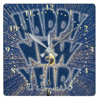 Die Lichter des neuen Jahres Quadratische Wanduhr