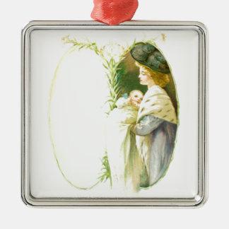 Die Liebe der Mutter Quadratisches Silberfarbenes Ornament