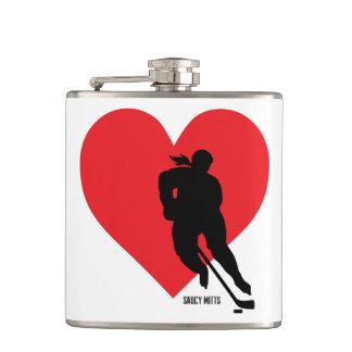 Die Liebe-Herz-Hockey-Spieler der Frauen Flachmann