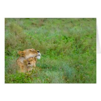 Die Liebe-Löwin der Mutter u. Baby-Gruß-Karte Karte