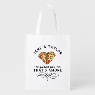 Die Liebe-Pizza des Paares personalisiert Wiederverwendbare Einkaufstasche