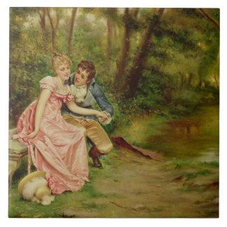Die Liebhaber (Öl auf Leinwand) Fliese