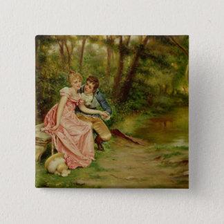 Die Liebhaber (Öl auf Leinwand) Quadratischer Button 5,1 Cm