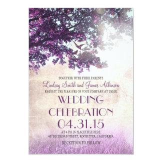 Die lila alten wedding Eichenbaum- u. -Liebevögel Ankündigungskarte