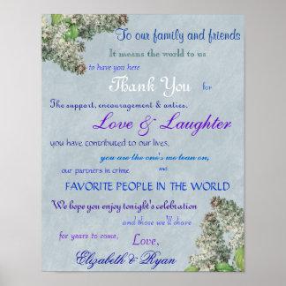 Die lila Hochzeit der Flieder danken Ihnen Poster