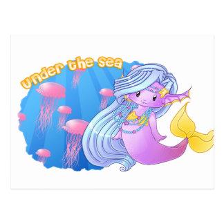 Die lila Meerjungfrau Postkarte