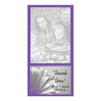 Die lila Wedding Blumenhöhepunkte danken Ihnen Photo Karten
