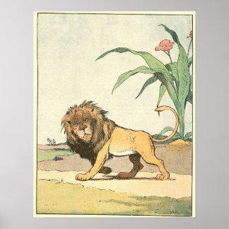 Die Löwe-Geschichten-Buchillustration Poster