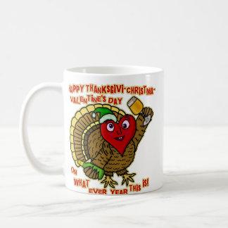 Die lustiger Feiertags-betrunkenes Türkei-Herz Kaffeetasse