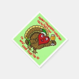 Die lustiger Feiertags-betrunkenes Türkei-Herz Papierserviette