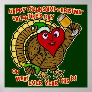 Die lustiger Feiertags-betrunkenes Türkei-Herz Poster
