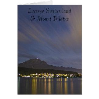 Die Luzerne-Schweiz-Nachtszene mit Berg Pilatus Karte