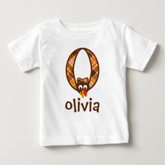 Die Mädchen-Erntedank-Shirt-Türkei-Monogramm O Baby T-shirt