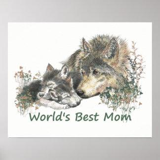 Die Mamma-Aquarell-Wolf u. Welpen der Welt bester Poster