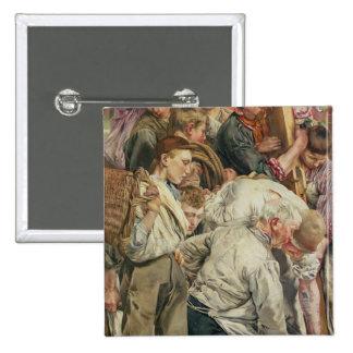 Die Männer, links Platte vom Alter der Arbeitskraf Quadratischer Button 5,1 Cm