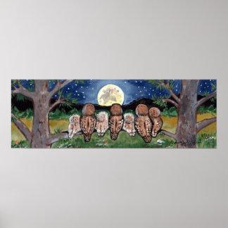 Die Marine-Nachteulen-Eulen, die Mond aufpassen, Poster