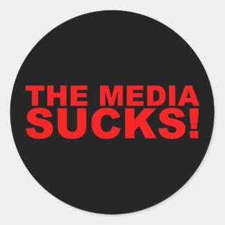 Die Medien ist zum Kotzen! Runder Aufkleber