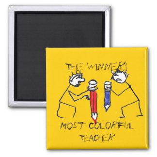 Die meisten bunten Lehrer-Strichmännchen Quadratischer Magnet