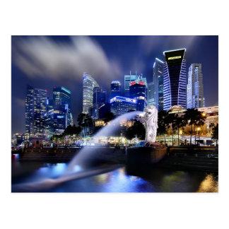Die Merlion und Singapur-Skyline Postkarte