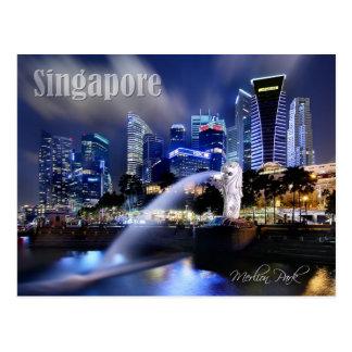 Die Merlion und Singapur-Skyline Postkarten