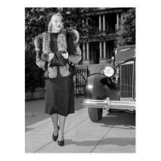 die Mode Dreißigerjahre Frauen Postkarte