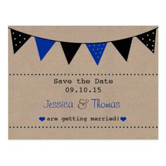 Die moderne blaue Flaggen-Hochzeits-Sammlung Postkarte