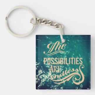 Die Möglichkeiten sind endlos Einseitiger Quadratischer Acryl Schlüsselanhänger