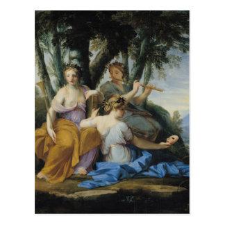 Die Musen, Clio, Euterpe und Thalia, c.1652-55 Postkarte