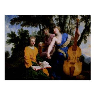 Die Musen Melpomene, Erato und Polymnia, 1652-55 Postkarte