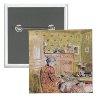 Die Mutter des Künstlers, die Frühstück, 1899-1904 Quadratischer Button 5,1 Cm