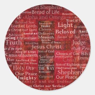 Die Namen des Jesus Christus von der Bibel Runder Aufkleber