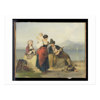 Die neapolitanische Familie, 1865 (Öl auf Platte) Postkarte