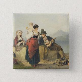 Die neapolitanische Familie, 1865 (Öl auf Platte) Quadratischer Button 5,1 Cm