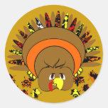 Die niedliche farbenreiche Türkei Runder Aufkleber